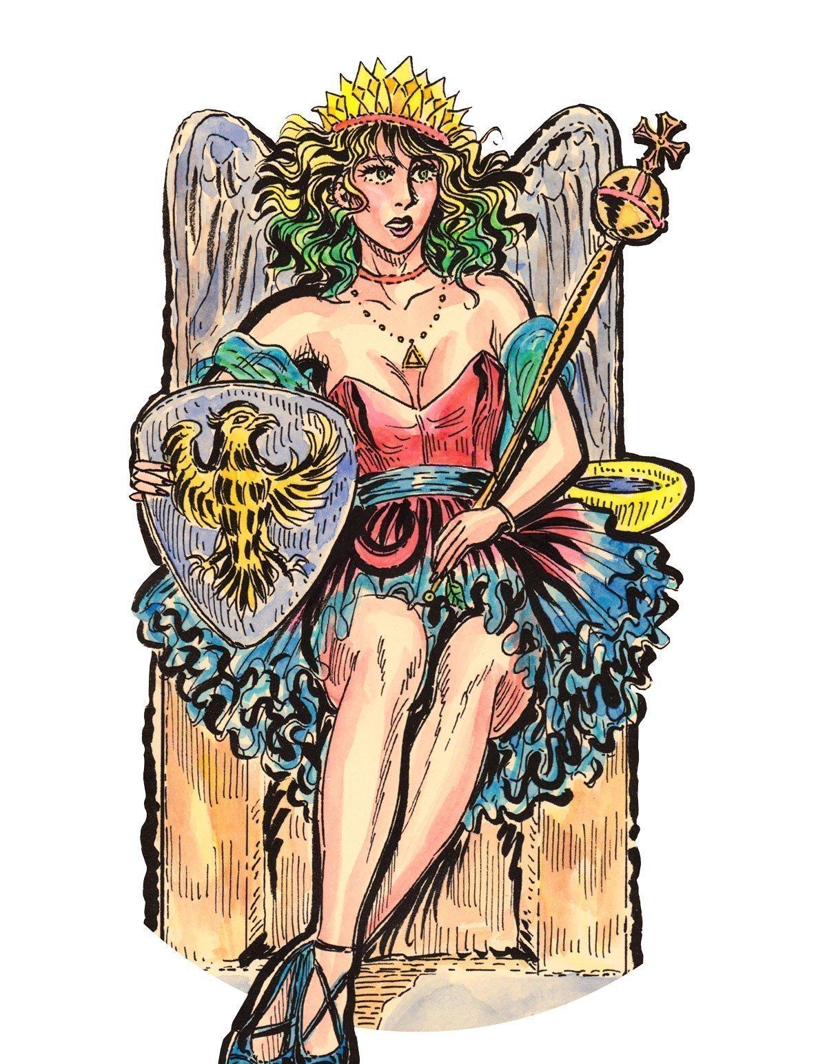 The Empress And Death Antique Tarot Cards: The Empress Tarot Card Large Print Unisex T-Shirt
