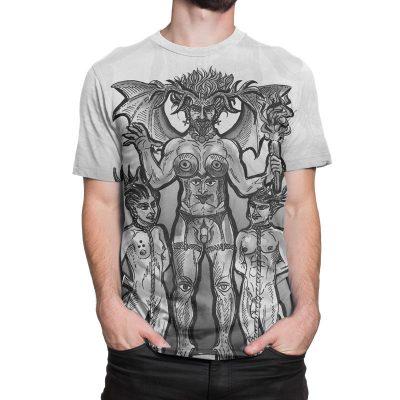 The Devil Tarot Card Large Print Black And White Unisex T-Shirt