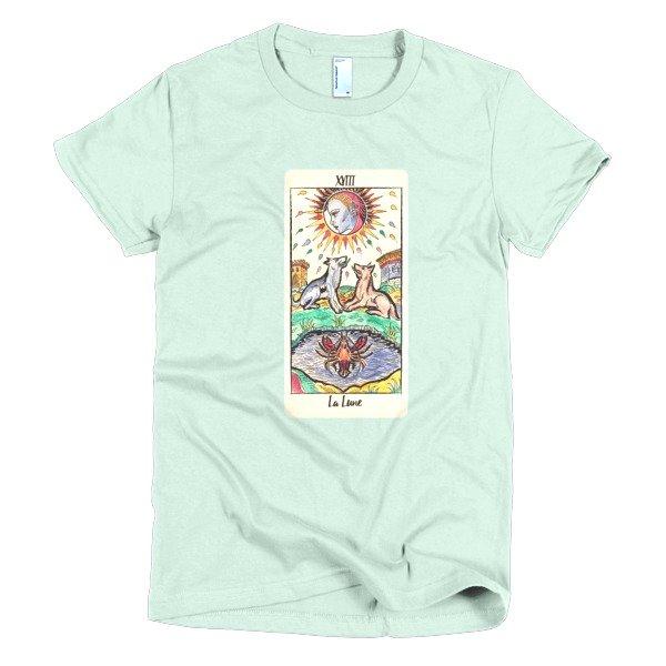 ae99d06c3833 The Moon Tarot Card Short Sleeve Women's T-Shirt - Tarot T-Shirts